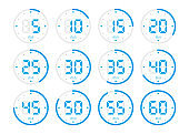 Timer, clock, stopwatch isolated set blue icons on white background. Vector