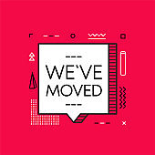 We have moved geometry banner. Image isolated on red background. Vector.