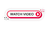 Watch Video 3D red button with play button isolated on white background for blog, bloggers, player, website, broadcast, online radio. Vector