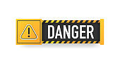 DANGER sign. Hazard warning caution board. Striped frame. Banner isolated on white background. Vector.