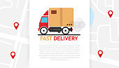Fast delivery car on white background on the map with red markers. Delivery of the product to the client. Vector illustration.