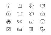 Packaging thin line vector icons. Editable stroke