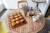 Table with home baked cupcakes and pot