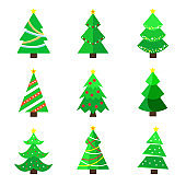 Set of Christmas tree in a flat design. Vector Illustration