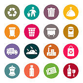 Garbage colourful vector icons
