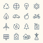 Environment conservation line icons