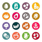 Dieting food colourful vector icons