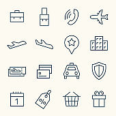 Travel booking service line icons