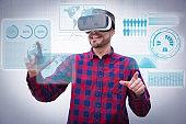 Content man using virtual reality headset and virtual statistics