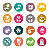 Insurance colourful vector icons