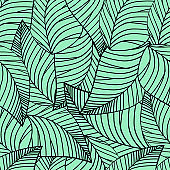 Square seamless poster with abstract leaves pattern at light green background.