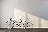 Minimalistic hipster interior with bicycle