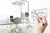 Hand drawing modern CEO office