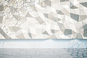 Front view of white polygonal wall