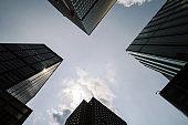 Glass skyscraper bottow view