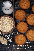 fresh homemade oatmeal cookies, vertical top view