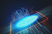 Digital screen with fingerprint and microchip