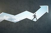 Businessman runing on transparent arrow