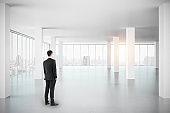 Businessman in empty office