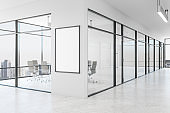 Modern white office with banner