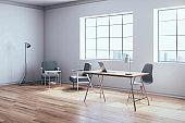 Minimalistic workspace with laptop o