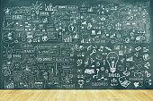 Business sketch on chalkboard wall