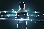 Hacker with money signs