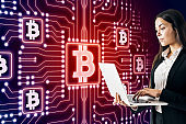 Glowing red bitcoin background