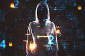 Hacker and digital padlock interface