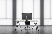 Modern workspace desktop with computer