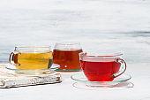 assortment of tea in glass cups