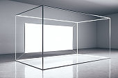 Contemporary gallery interior with glowing billboard