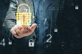 Businessman hand using internet security hologram
