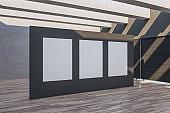Minimalistic gallery interior with three empty banner