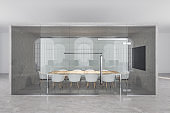 Contemporary meeting room with plasma screen