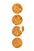 conceptual photo. chocolate chip oatmeal cookies on white background, top view