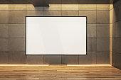 Minimalistic concrete gallery interior