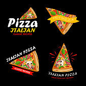 Pizzeria logotypes set. Collection labels for menu design restaurant or pizzeria. Fast food and pizza advertisement. Italian pizza