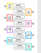 Vector infographics design template with label. Eight steps