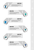 Infographics with 6 circles and labels. Abstract vector template