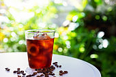 glass of cold brew coffee with iced