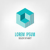 Cube vector logo template. Abstract isometric design. Square figure