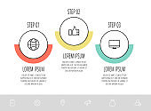 Vector flat template circle infographics. Business concept with 3 options and labels.
