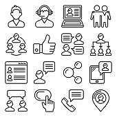 Customer and Business People Icons Set. Line Style Vector