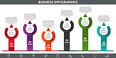 Vector flat template circle infographics. Business concept with 6 options and arrows