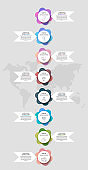 Infographics with 8 circles and arrows. Modern vector template