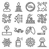 Air Pollution, Global Warming and Environment Icons Set. Vector