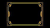 Gold frame for paintings or photographs. Frame in vintage style, there is a place for text. . Golden luxury realistic border. Wedding banner