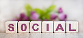 Social concept on wooden cubes with floral background