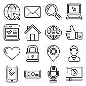 Website Development Icons Set on White Background. Line Style Vector